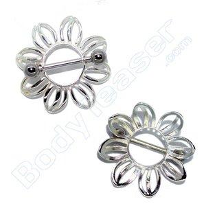 Nippel-Piercing Schild , Blume, 925 Silber