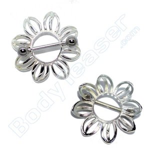 Nipple Piercing Jewelery, Floral shield, 925 Silver