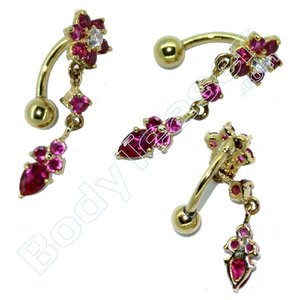 Bellybutton Piercing Jewelery, Flower, Gold on 925 Silver