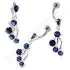 "Nabel Piercing ""Cool Blue"", 925 Silber"