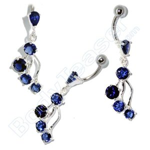 Bellybutton Piercing Jewelery, Cool Blue, 925 Silver