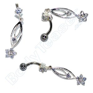 Bellybutton Piercing Jewelery, Soft Pink, 925 Silver