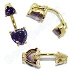 "Belly Piercing ""Deep Purlpe"" Gold on Silver"
