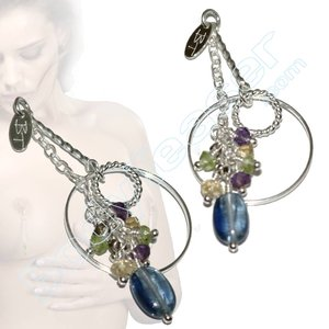 Silver Nipple Dangles with Kyanite, Peridot, Citrien, Amethyst en Smokey Quartz