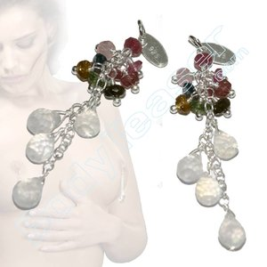 Nipple Dangles with real Tourmaline and Moon Stone