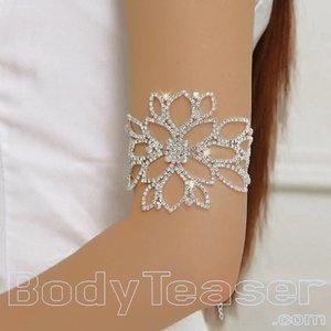 Bovenarmband, Armlet met Strass kristallen in bloemvorm