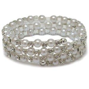 Bovenarmband, Armlet met Strass en kunststof parels