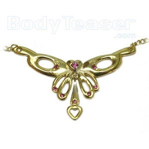 Back Belly Chain Bauchkette von massivem Sterling Silber mit gold platiert