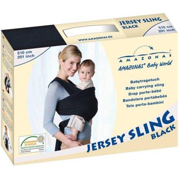 Amazonas Rekbare doek voor buik/heup/rug - zwart - 510 cm