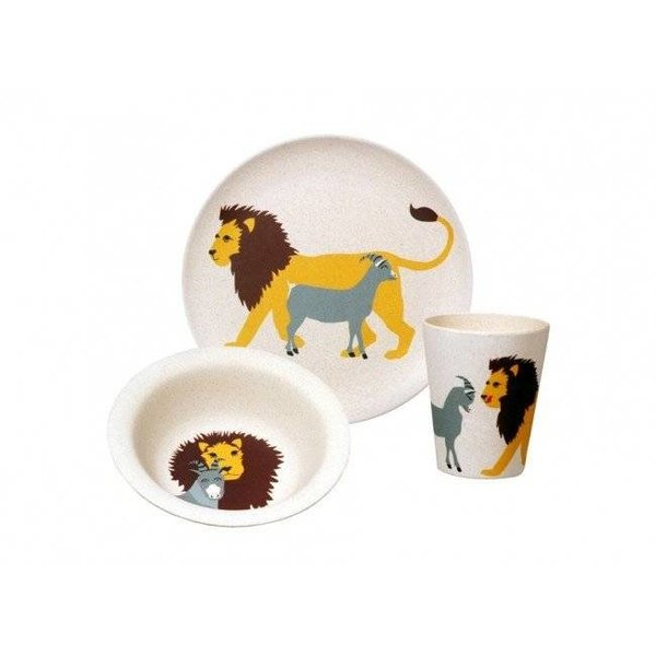 Zuperzozial Zuperzozial Hungry Lion Kids Set Bamboe