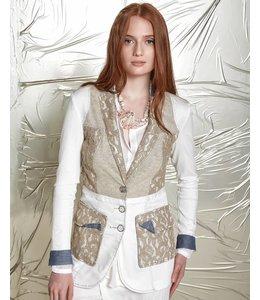 Elisa Cavaletti Long fitted blazer ecru