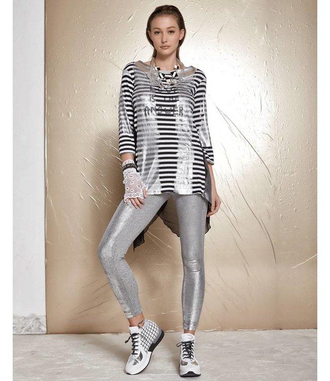 Elisa Cavaletti Shirt black-white stripes