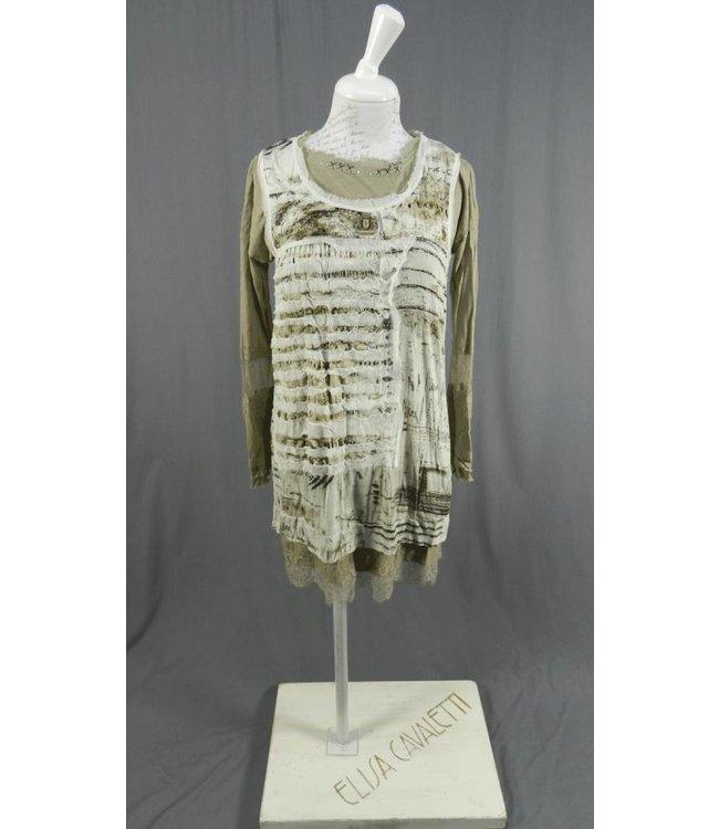 Elisa Cavaletti Zweiteiliges Jersey-Kleid taupe bedruckt