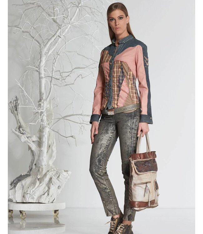 Elisa Cavaletti denim patchwork shirt