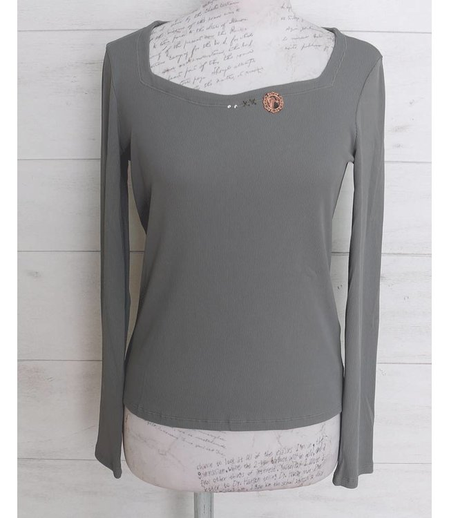 Elisa Cavaletti Basic long-sleeved shirt light grey