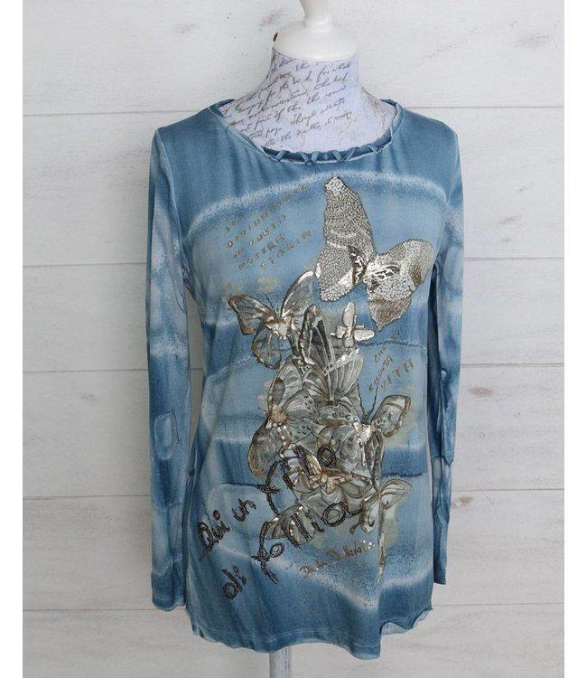Elisa Cavaletti Langes T-Shirt hellblau