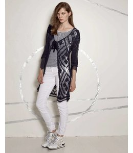 Elisa Cavaletti Long knit-jacket darkblue