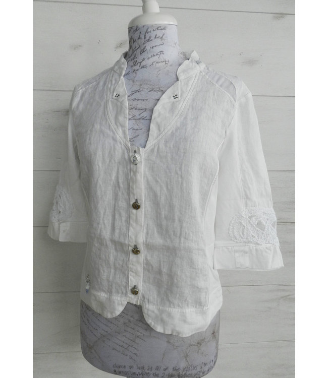 Elisa Cavaletti Cropped linen jacket Bianco