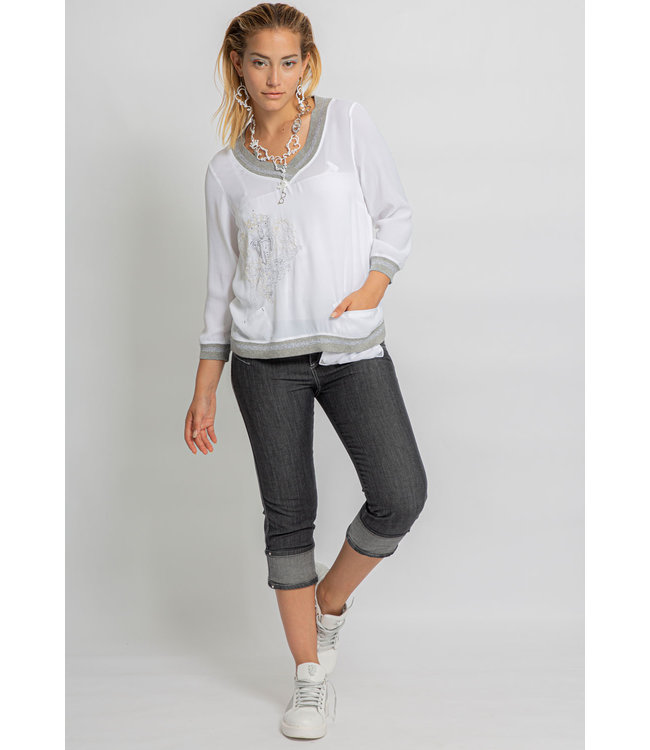 Elisa Cavaletti 3/4 basic jeans Denim Nero