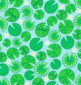 Ella Blue fabrics Lilypads green