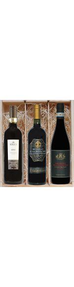 Geschenkkistje met de 3 beste Italiaanse wijnen - Barolo - Brunello - Amarone