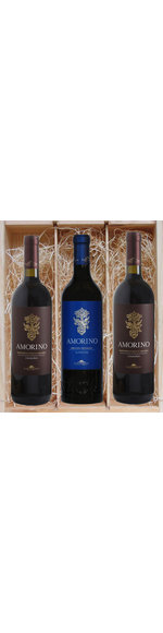 Houten kistje met 3 schitterende wijnen 2x rood en 1x wit