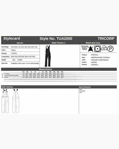Tricorp Amerikaanse overall met inpandige kniestukken