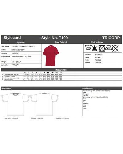 Tricorp T190 T-Shirt Zware Kwaliteit wit