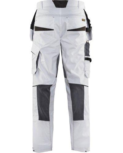 Blaklader 1096.1330 Stretch Schildersbroek + spijkerzakken in wit met donkergrijs