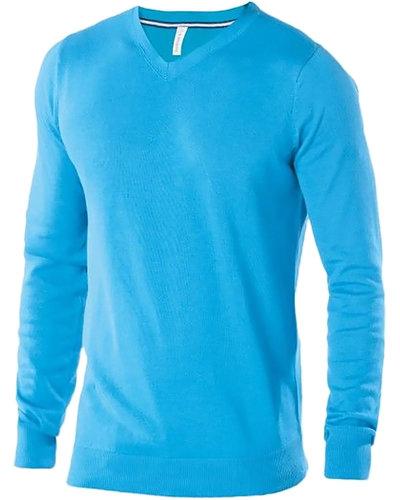 Kariban K974 Heren pullover Tropical Blue met V-Hals