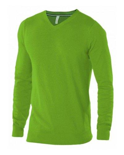 Kariban Heren pullover Lime met V-Hals