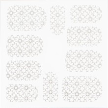 No Label Metallic Filigree Stickers SFLS-007 Silver