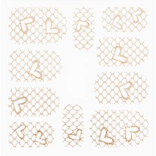 No Label Metallic Filigree Stickers SFLS-012 Gold