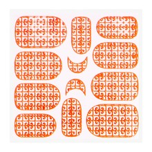 No Label Metallic Filigree Sticker KOR-016 Neon Orange