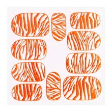 No Label Metallic Filigree Sticker KOR-014 Neon Orange