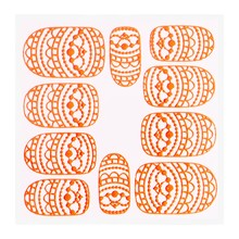 No Label Metallic Filigree Sticker KOR-013 Neon Orange