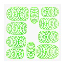 No Label Metallic Filigree Sticker KOR-013 Neon Green