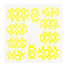 No Label Metallic Filigree Sticker KOR-012 Neon Yellow