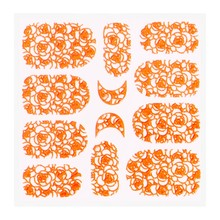 No Label Metallic Filigree Sticker KOR-011 Neon Orange