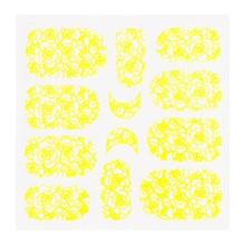 No Label Metallic Filigree Sticker KOR-011 Neon Yellow