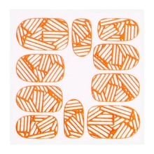 No Label Metallic Filigree Sticker KOR-010 Neon Orange