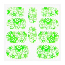 No Label Metallic Filigree Sticker KOR-005 Neon Green