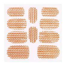 No Label Metallic Filigree Sticker KOR-004 Neon Orange