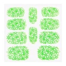 No Label Metallic Filigree Sticker KOR-003 Neon Green