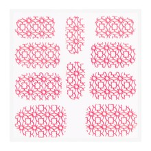No Label Metallic Filigree Sticker KOR-002 Neon Pink