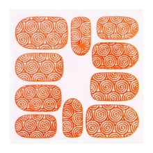 No Label Metallic Filigree Sticker KOR-001 Neon Orange
