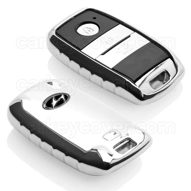 TBU car TBU car Sleutel cover compatibel met Hyundai - TPU sleutel hoesje / beschermhoesje autosleutel - Chrome