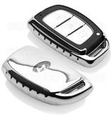 TBU car TBUCAR Autoschlüssel Hülle kompatibel mit Audi 3 Tasten - Schutzhülle aus TPU - Auto Schlüsselhülle Cover in Silber Chrom