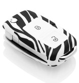 TBU car TBU car Sleutel cover compatibel met Seat - Silicone sleutelhoesje - beschermhoesje autosleutel - Zebra