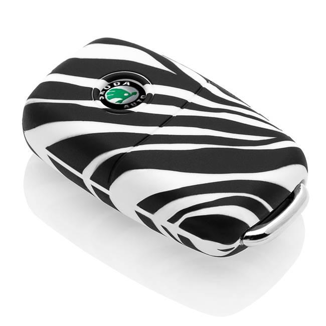 TBU car TBU car Autoschlüssel Hülle kompatibel mit Skoda 2 Tasten - Schutzhülle aus Silikon - Auto Schlüsselhülle Cover in Zebra